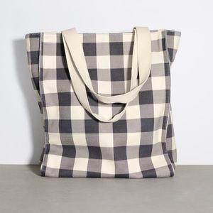 ZARA Gingham Fabric Tote Bag NWT